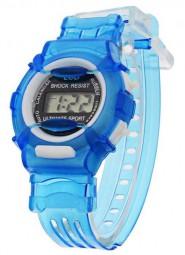Cyfrowy zegarek kwarcowy na przezroczystej bransolecie (niebieski)