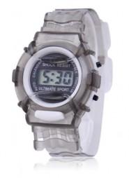 Cyfrowy zegarek kwarcowy na przezroczystej bransolecie (szary)