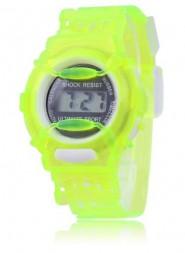 Cyfrowy zegarek kwarcowy na przezroczystej bransolecie (zielony)