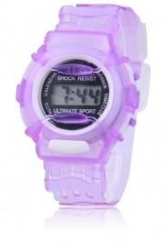 Cyfrowy zegarek kwarcowy na przezroczystej bransolecie (fioletowy)