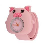 Analogowy zegarek dla dzieci na silikonowej bransolecie - świnka (różowy)