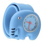 Analogowy zegarek dla dzieci na silikonowej bransolecie - słoń (niebieski)