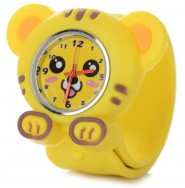 Analogowy zegarek dla dzieci na silikonowej bransolecie - tygrys (żółty)