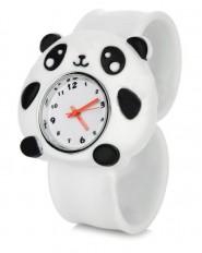 Analogowy zegarek dla dzieci na silikonowej bransolecie - panda (biały)