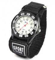 Sportowy zegarek analogowy z bransoletą na rzep (czarny)